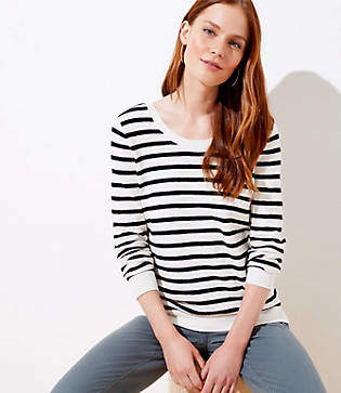 LOFT Petite Striped Double Scoop Neck Sweater