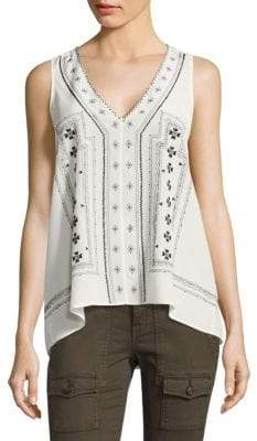 Joie Merles Sleeveless Printed Silk Blouse