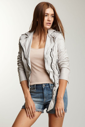 Muubaa Asha Genuine Leather Bomber Jacket $485 thestylecure.com