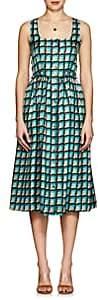 Barneys New York Women's Geometric-Print Silk Dress - Blue