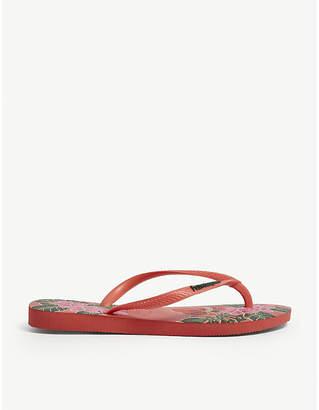Havaianas Slim floral-print rubber flip-flops