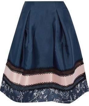 Sachin + Babi Faille-Paneled Lace-Trimmed Printed Satin Skirt