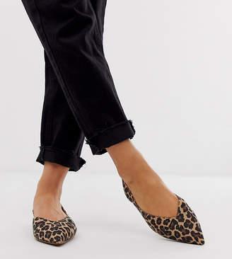 4a3c563f0 Asos Design DESIGN Wide Fit Leisure high vamp slingback ballet flats in  leopard