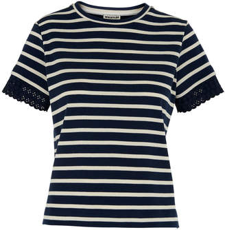 Whistles Broderie Cuff Stripe Tee