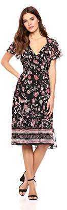 Max Studio Women's Cap Sleeve Printed Maxi Dress