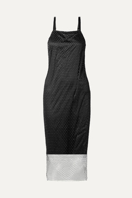 Opening Ceremony Layered Crystal-embellished Fishnet And Satin Slip Dress - Black