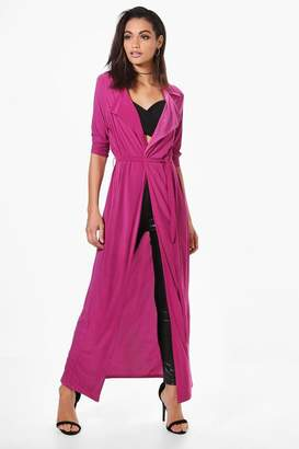 boohoo Eve Slinky Maxi Trench $46 thestylecure.com