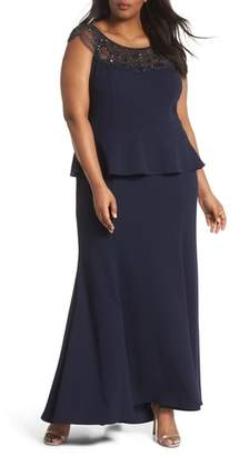 Xscape Evenings Beaded Crepe Trumpet Gown