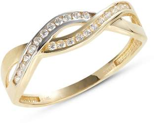 Fine Jewellery Yellow Gold Entwined Pave Ring