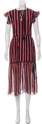 Markus Lupfer Silk Stripe Midi Dress w/ Tags