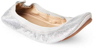 Yosi Samra Kids Girls) Silver Sammie Glitter Ballet Flats