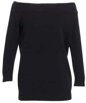 Lela Rose Women's Off-The-Shoulder Wool& Cashmere Sweater - Black - Size Medium