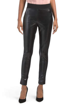 Pull On Leggings With Faux Leather Trim
