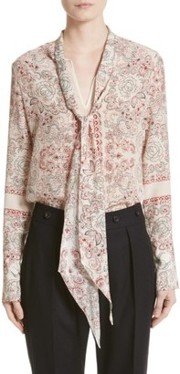 Women's Belstaff Alene Print Tie Neck Silk Blouse $795 thestylecure.com