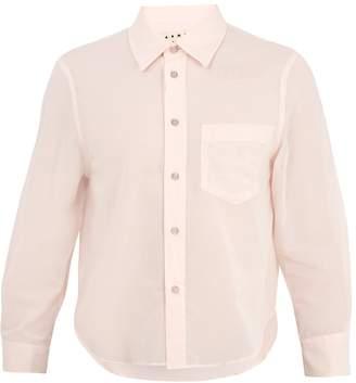Marni Cropped-sleeve cotton-poplin shirt