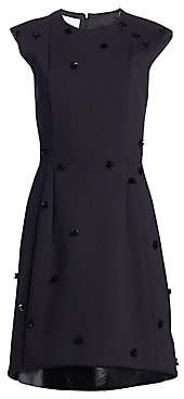 Akris Punto Women's Sequin Appliqué Lacquer Leather Hem A-Line Dress