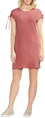Vince Camuto Lace-Up Shoulder Slub Jersey Shift Dress