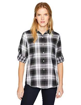 Calvin Klein Women's Double Sided Roll Sleeve with Collar