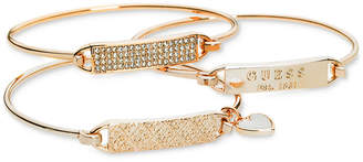 GUESS Rose Gold-Tone 3-Pc. Set Plate and Wire Bangle Bracelets