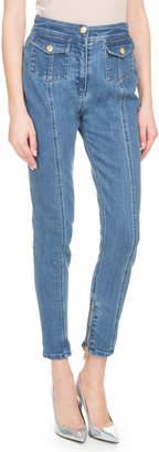 Balmain High-Waist 2-Pocket Skinny-Leg Jeans w/ Zip Hem