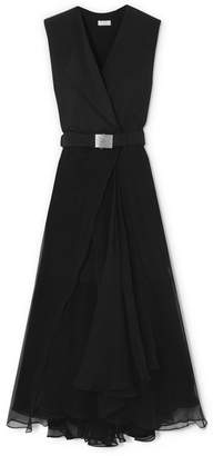 Brunello Cucinelli Belted Crepe And Chiffon Maxi Dress - Black
