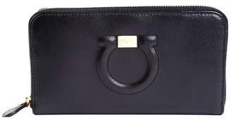 Salvatore Ferragamo Gancini Continental Pebbled-leather Wallet