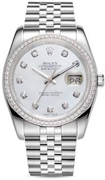 Mother of Pearl Pre-Owned Rolex 18K White Gold and Stainless Steel Datejust Diamond Watch with Mother-Of-Pearl Dial and Jubilee Band, 36mm