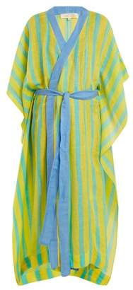 Diane von Furstenberg Striped Linen Blend Wrap Kaftan - Womens - Green Multi