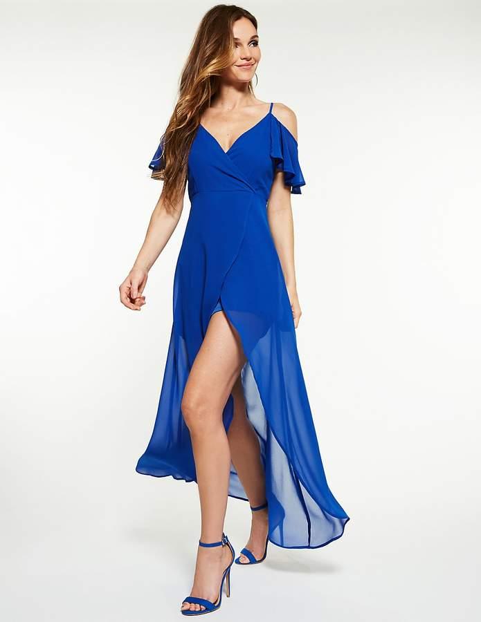 Charlotte Russe Cold Shoulder High Low Maxi Dress