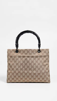 Gucci What Goes Around Comes Around Black Canvas Bamboo Top Handle Bag