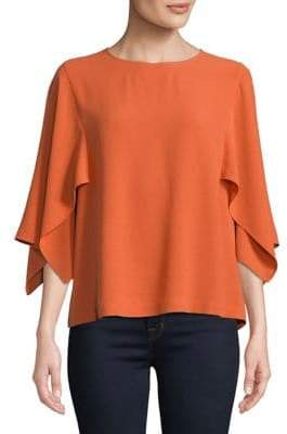 Eileen Fisher Flutter Sleeve Silk Blouse