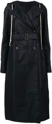 Rick Owens drawstring hooded trench coat