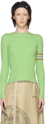 Marine Serre Green Knit Cut-Out Sweater