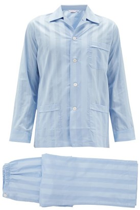 Derek Rose Lingfield Jacquard Stripe Cotton Pyjamas - Mens - Light Blue