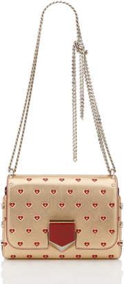 Jimmy Choo LOCKETT PETITE Gold and Red Metallic Sweetheart Printed Leather Shoulder Bag