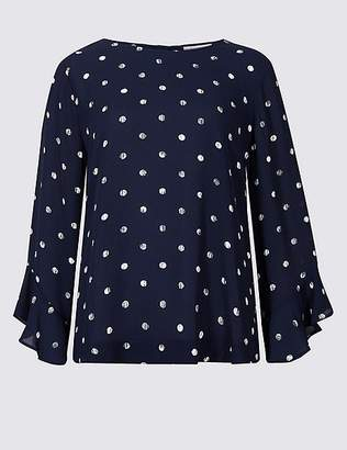 Marks and Spencer Printed Round Neck Long Sleeve Shell Top
