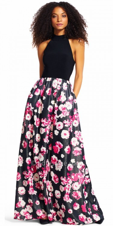 Adrianna PapellAdrianna Papell Floral A-line Racer Back Evening Dress