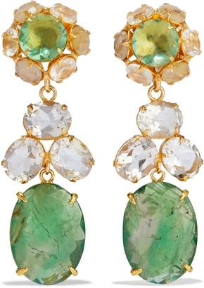 Bounkit Convertible Gold-tone, Fluorite And Quartz Earrings
