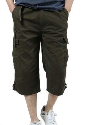 Etecredpow-CA Men Capri Pants Casual Multi Pockets Big and Tall Cargo Shorts M