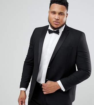Asos DESIGN PLUS Slim Tuxedo Suit Jacket In Black