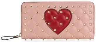 Valentino Rockstud heart continental wallet