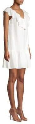 Rebecca Taylor Linen Ruffle A-Line Dress