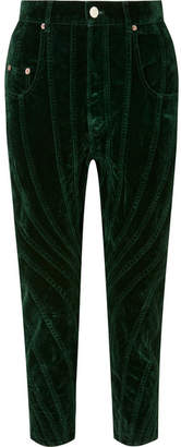 Thierry Mugler Paneled Velvet Tapered Pants - Dark green