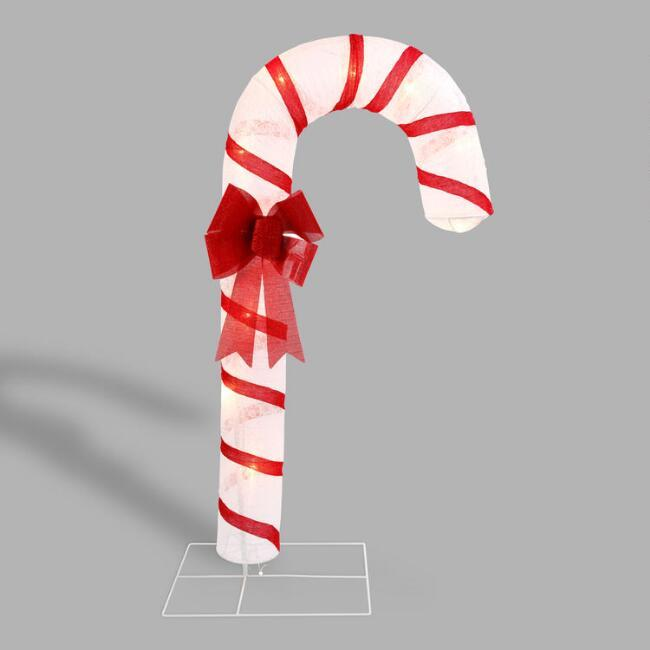 Lit Oversized Candy Cane Figurine