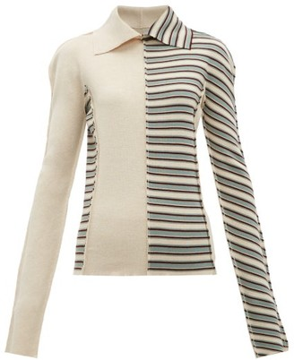 Jil Sander Patchwork Stripes Virgin Wool Sweater - Womens - Blue Multi