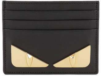 Fendi Wallet Monster Eyes Credit Card Holder In Smooth Leather With Bugs Metal Maxi Eyes Bag