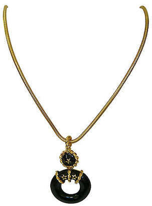 One Kings Lane Vintage 1960s Nautical Black & Gold Necklace - Wisteria Antiques Etca