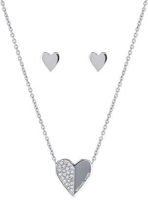 Michael Kors Silver-Tone Heart Pendant Necklace & Stud Earrings Set