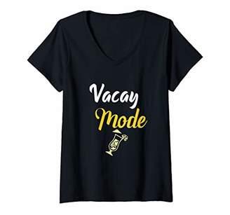 Womens Vacay Mode Tropical Summer Illustrated Vacation Meme V-Neck T-Shirt