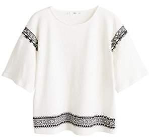 MANGO Embroidered linen-blend t-shirt